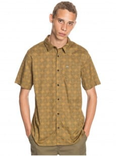 Желтый мужская рубашка с коротким рукавом threads print pack