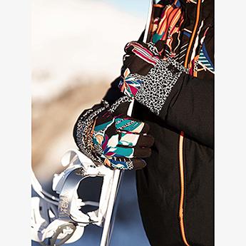 Перчатки сноубордические женские Roxy Jetty Se Gloves True Black Pop Flowe