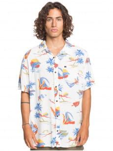 Белый мужская рубашка с коротким рукавом sun damage