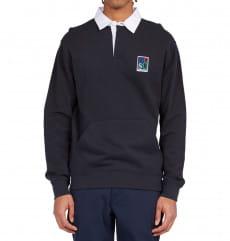 Черное мужская рубашка-поло с длинным рукавом carlton