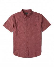 Бордовый мужская рубашка с короткими рукавами all day
