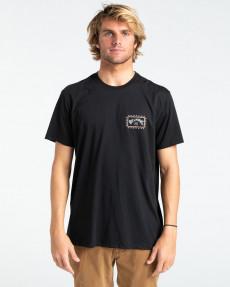 Черный мужская футболка adventure division arch wave