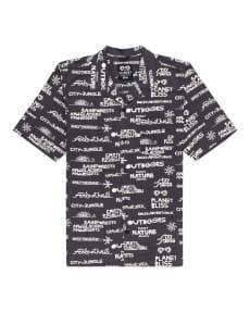 Черный мужская рубашка с коротким рукавом revolution
