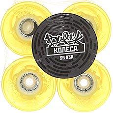 Желтые колеса для лонгборда вираж 83a 59 mm yellow led blue